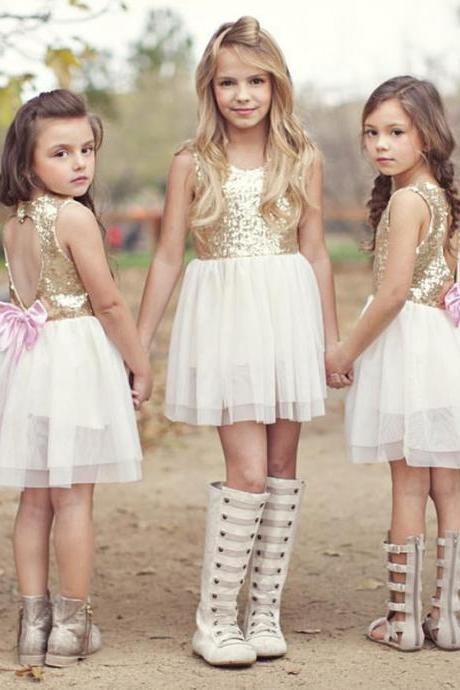 Round Neck Sleeveless Sequin Short Flower Girl Dress with Open Back and Bow Accent