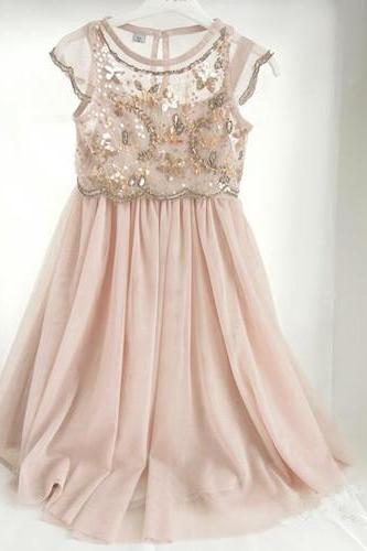 Pink Illusion Beaded Chiffon Long Flower Girl Dress with Cap Sleeves