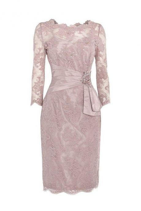Elegant Half Sleeves Short Pink Lace Mother of the Bride Dress