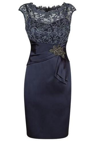 Elegant Dark Navy Blue Short Mother of the Bride Dress