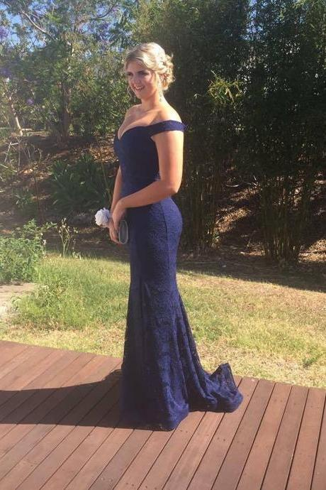 Off the shoulder Navy Blue Lace Long Bridesmaid Dress