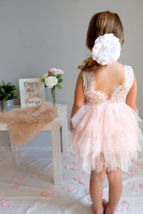 Pink Sleeveless Lace Short Flower Girl Dress with Ruffle Skirt