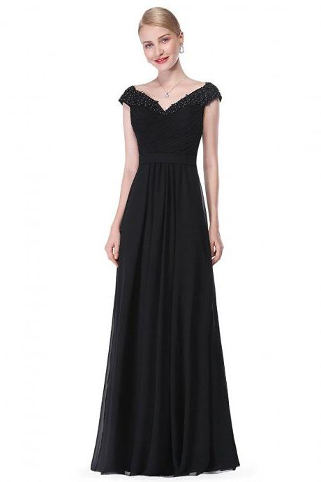 Gorgeous Black Long Chiffon Mother of the Bride Dress