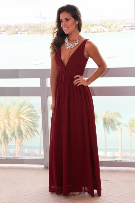 Burgundy Ruched Chiffon Plunge V Sleeveless Floor Length A-Line Bridesmaid Dress, Formal Dress