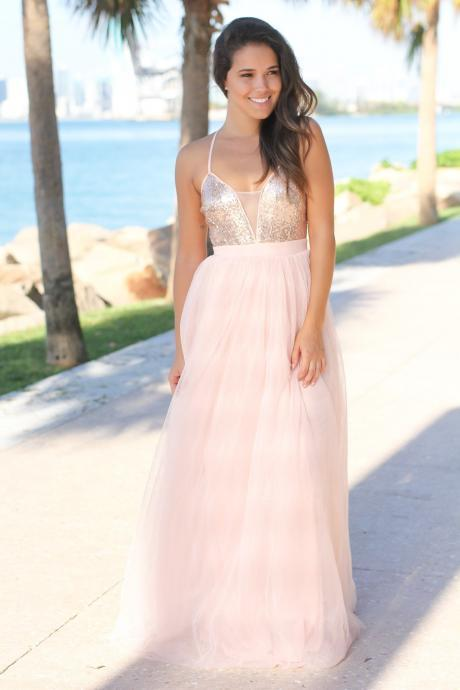 Cute Straps Sequins Pink Long Prom Dress