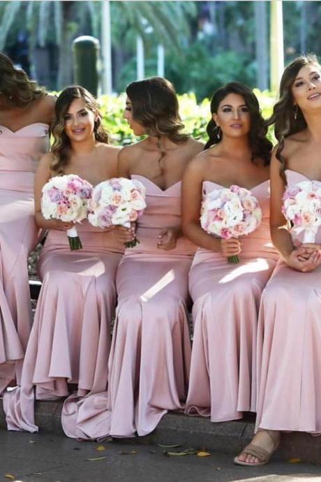 Gorgeous Strapless Pink Mermaid Long Bridesmaid Dresses